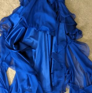 Dave & Johnny Dresses - Dave and Johnny Royal Blue High-Low Gown